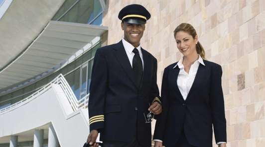 pilot and stewardess waiting for limo